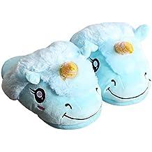 709fe40ec5402 Casa Femme Peluche Pantoufle Licorne Chaussons Rigolo Adulte Unicorn Hiver  Coton Chaussons 3D Chaussures