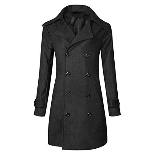 (Herren Mantel,Honestyi Herren Herbst Winter warme Jacke Mantel Verschleiß dünne lange Graben Knöpfe Mantel (XL, Schwarz))