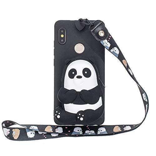 Miagon Silikon Hülle für Xiaomi Redmi Note 5 Pro,3D Süß Brieftasche Lager Tasche Design mit Halskette Kordel Schnur Handykette Necklace Band,Schwarz Bär