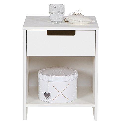 Kinder Nachttisch JADE Kiefer weiß Beistelltisch Nachtschränkchen Nachtkonsole