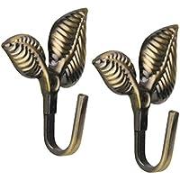 2Pcs Vintage Alloy Curtain Drapery Holdbacks Tiebacks Tie Back Hooks Leaf Shape (Bronze) by Generic