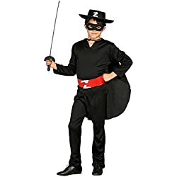 Guirca Disfraz de zorro con sombrero, para niños de 10-12 años, color negro (78703)