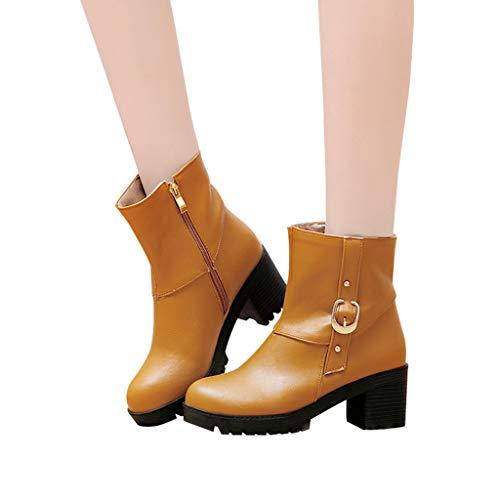 TianWlio Frauen Herbst Winter Stiefel Schuhe Stiefeletten Boots Lässige Schuhe mit Quadratischem Absatz und Wild Gekreuzt High Heel Stiefeletten Gelb 43