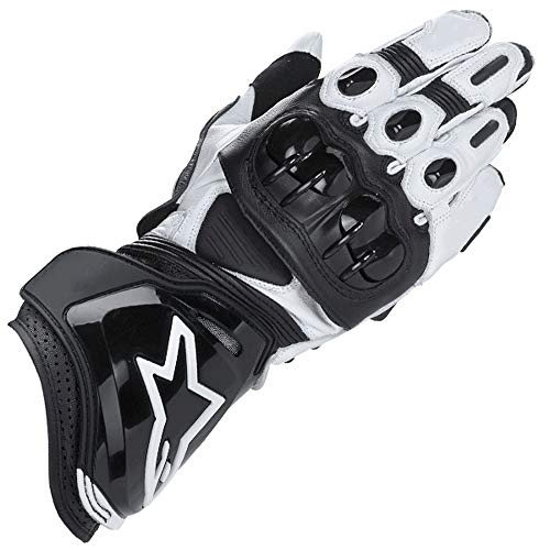 ZXT Motorcycle Long Gloves Racing Driving Motorbike Guanti Originali in Pelle Bovina (Colore : Black White, Dimensioni : L.)