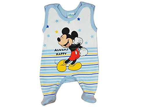 Disney Mickey Mouse Baby Strampler Jungen Aermellos 50 56 62 68 Frühchen Neugeboren Anzug Body Einteiler Overall aus Europa 100% Baumwolle mit Patentknöpe für 0 3 6 9 Monate Farbe Blau, Größe 62