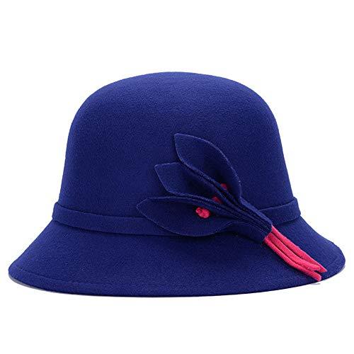 hat-maihef Hut weiblichen Wollmütze Damen Frühling und Sommer koreanische Mode Blumen Frühling Winddicht Jazz Becken Kappe [Perle] dunkelblau einstellbar -