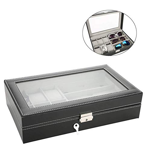 yuyte 3 Grids Aufbewahrungsbox für Uhren und Gläser, Brillen-Organizer, Schmucketui für Aufbewahrung und Display, PU-Leder