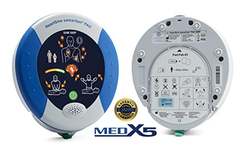 MedX5 PAD500P 8 Jahre Garantie, halbautomatischer Laien Reanimations-Defibrillator (AED) mit Anleitung und Kontrolle zur Herzdruckmassage