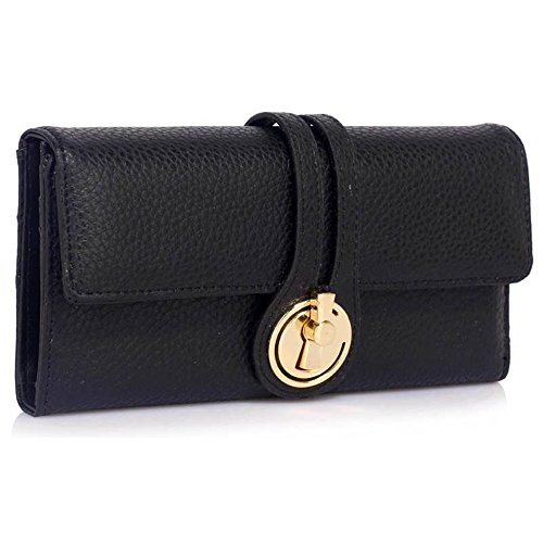 LeahWard® Genuine Kunstleder Geldbörsen Brieftaschen Mode nett Groß Geldbörsen Tasche Schwarz 1078