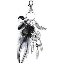 Borlas Cadena De Clave, artificial de plumas Atrapasueños de piedra bolso de mano negro llavero Coche Bolsa Colgante Accesorios