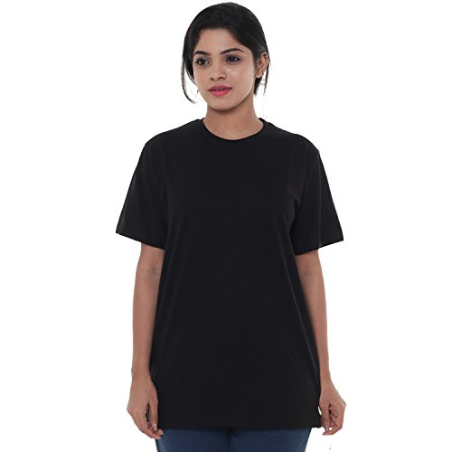 EASY 2 WEAR Women's Plain Regular Fit T-Shirt (E2WLTS00004_L_Black)