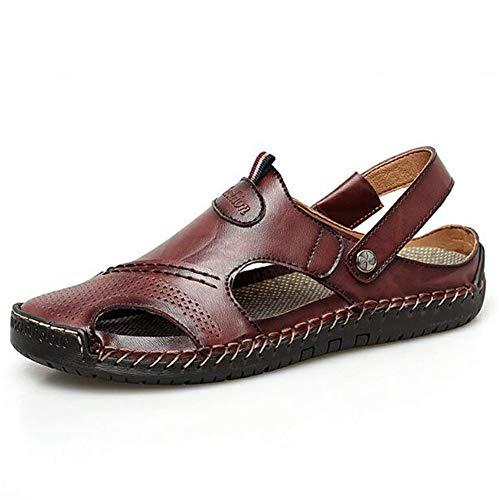 Sandali in pelle uomo chiuso punta scarpe estate moda traspirante antiscivolo appartamenti outdoor casual spiaggia pescatore scarpe