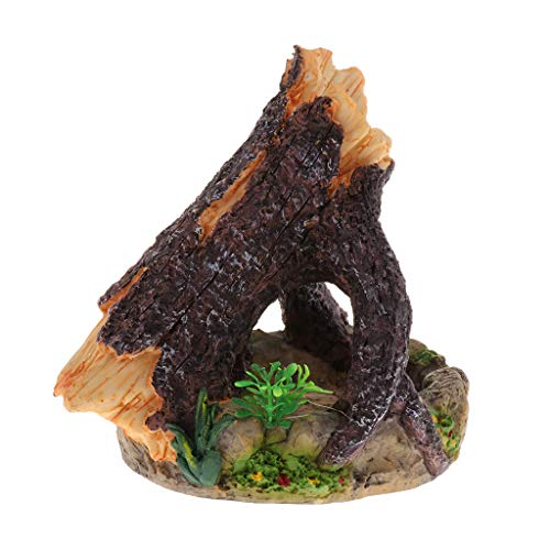 Homyl Reptil Futterschale Futternapf mit Baumstamm Terrarium Dekoration