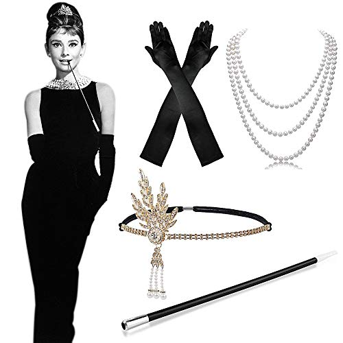 MMTX 1920 Fancy Dress Accessories Set, 1920s Flapper Costume Dress Grande Gatsby Accessories Fascia Vintage, Long Black Satin Gloves, Collana di Perle, Long Cigarette Holder per Donna, Donna