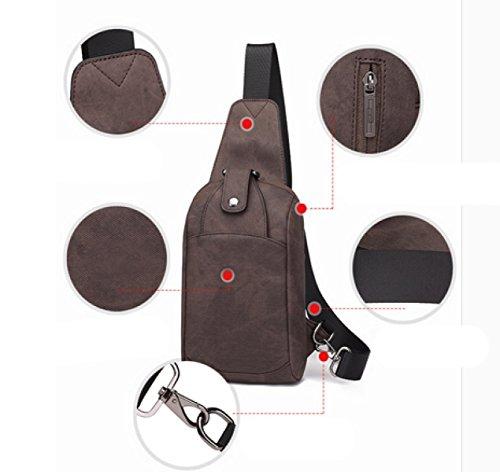 LAIDAYE Schulterbeutel Kuriertaschen Sporttaschen Outdoor-Freizeit-Rucksack Business-Paket Schultertasche Tasche Brust 3