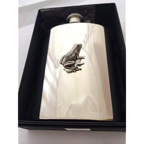 Stunning 4oz peltro fiaschetta, A14con una rana emblema in Medio con un prideindetails Confezione Regalo