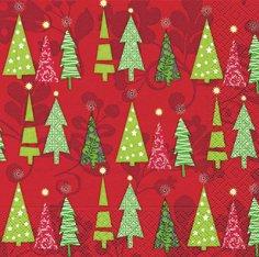 20 Cocktail Servietten 25x25cm. Weihnacht, grüne Bäume auf rot / TREES IN A ROW