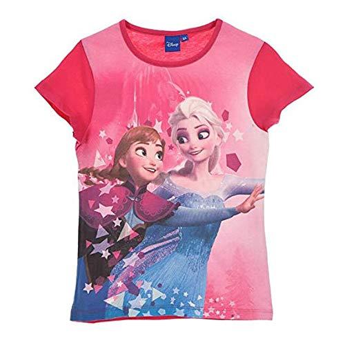 Disney frozen t-shirt stampata ufficiale maglia bambina da 4 a 8 anni 1048 fuschia 5 anni