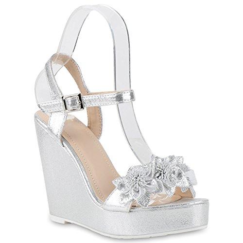 Damen Keilsandaletten Sandaletten Wedges Keilabsatz Sandalen Denim High Heels Nieten Quasten Schuhe 141288 Silber schmuck 38 | Flandell®