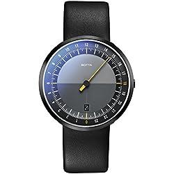 Botta-Design UNO 24 Armbanduhr - 24H Einzeigeruhr, Edelstahl, Black Edition, Saphirglas Antireflex, Lederband