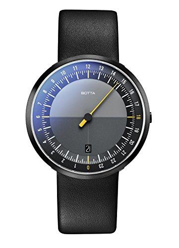 Einzeiger Armbanduhr – UNO 24 Black Edition von Botta-Design – Einzeigeruhr 24 Stunden für Herren mit 24h Ziffernblatt – Uhren...