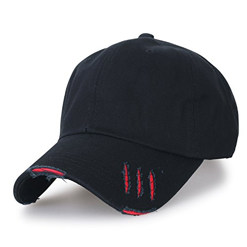 ililily klassischer Stil gewaschene Baumwolle Trucker Cap Hut grosses Ausmaß Baseball Cap , Black/Red (Cap Cotton Cycling)