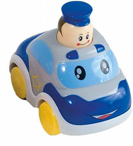 Bieco Drück & Los Flitzer Feuerwehr oder Polizeiauto, Spielzeug-Autos mit Aufzieh Mechanismus durch Kopf herunterdrücken,  Rückzug Spielzeugautos ab 6 Monaten für Baby und Kinder