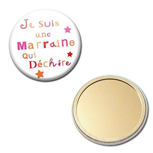 Miroir Je suis une MARRAINE qui déchire Idée Cadeau MARRAINE Baptême Communion Noël Miroir de poche 56mm