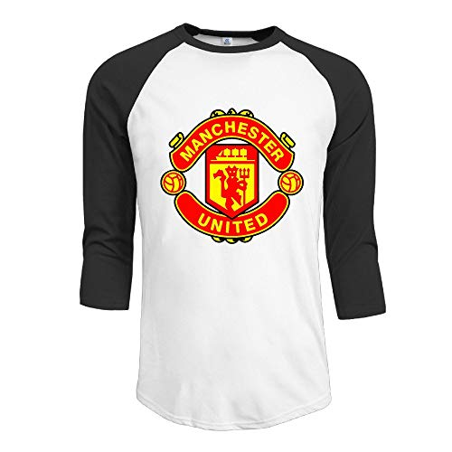 HSOAA Baseball Shirt Herren Men's Football Club The Red Devils 3/4 Sleeve 100% Cotton Baseball Tee/T Shirts -