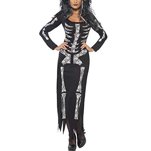 Qiusa Halloween Frauen Geist Festival Schädel Gedruckt Horror Skeleton Kostüm Urlaub Party Club DressBlack, S (Farbe : Schwarz, Größe : S)
