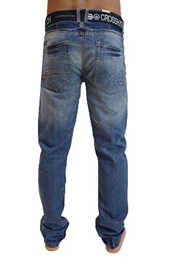 Crosshatch Mens Nouvelles Techno Straignt Leg Jeans Mi Oeil Utilisé Stone Wash Tecno