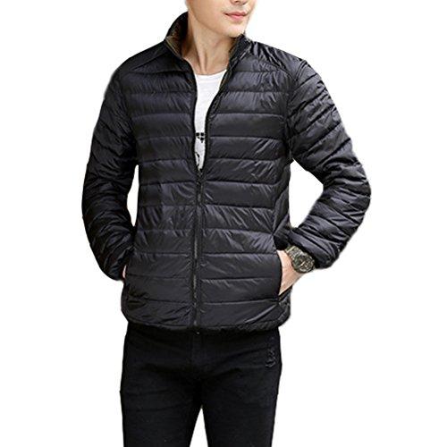Zhuhaitf BONNE QUALITÉ Mens Winter Down Jacket Warm Outwear Jacket Double-sided Wear Ultra Lightweight Black & Army Green