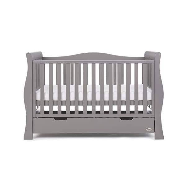 Obaby Stamford Sleigh Luxe Cot Bed - Taupe Grey Obaby Adjustable 3 position mattress height Bed ends split to transforms into toddler bed Includes matching under drawer for storage 6