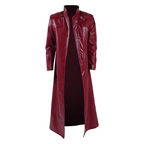 Zhangjianwangluokeji Halloween Herren Langer Jacke Mantel Rote PU Leather Regenmantel Erwachsene Cosplay Fancy Dress Kostüm Costume Kleidung (L, Langer Rot) (Mantel Roter Halloween)
