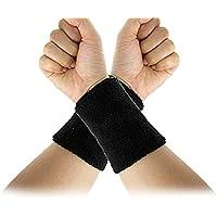 TOOGOO(R) elastique noir ratine poignet Bande de sueur Sports Support 2Pcs