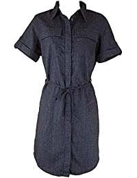 1416b7a0f74f Next Ladies Dark Blue Grey Tie Waist Pocket Tunic Shirt Dress