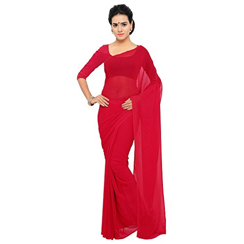 Sidhidata Textile Georgette Saree With Blouse Piece (Plain Red_Red_Free Size)