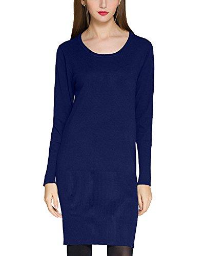 Femmes Manches Longues Pull Chandail Tricoter Cou Rond Mini Robe Bleu Saphir