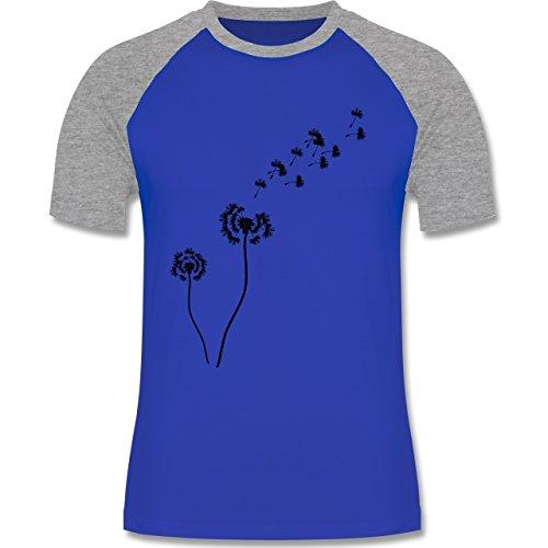 Statement Shirts - Pusteblume Löwenzahn - zweifarbiges Baseballshirt für Männer Royalblau/Grau meliert