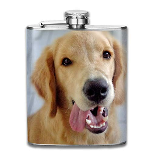 Cute Golden Retriever Tongue Outdoor Portable 304 Stainless Steel Leak-Proof Alcohol Whiskey Liquor Wine 7OZ Pot Hip Flask Travel Camping Flagon for Man Woman Flask Great Little Gift -