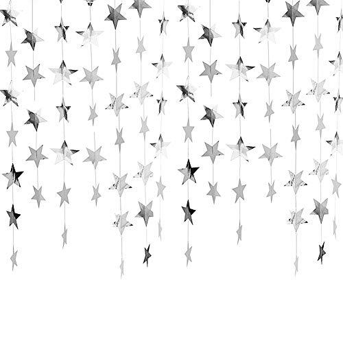 ZT TRADE Hängende Dekoration Blauer Stern Goldfunkelns Hochzeits-Weihnachten Halloween-Foto-Stand-stützen Tisch Foto-Hintergrund-Girlande Bunting Dekoration Silver