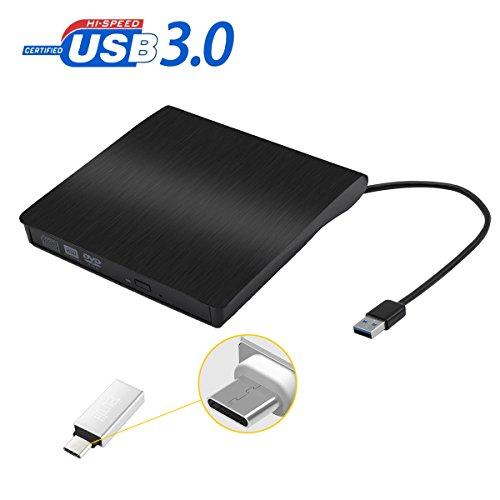 iitrust Lecteur USB 3.0 DVD-RM/Brûleur portable, Externe Lecteur Enregistreur Graveur DVD avec un Type-C adaptateur, Compatible avec Windows7/8/10/Window2003/XP/Vista
