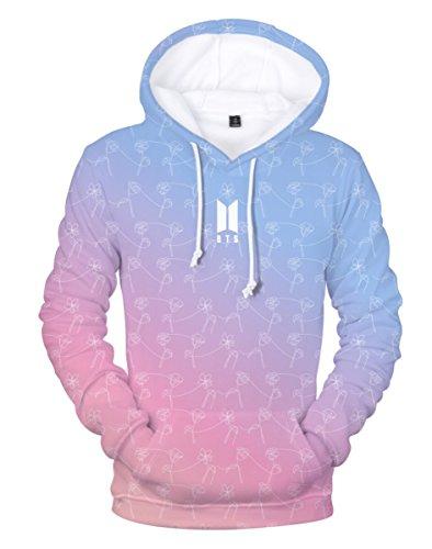 SIMYJOY BTS Pullover DREI-D-Druck Hoodie Porträt Sweatshirts Kapuze Bangtan Boys Tops Coole Oberteile für Damen Männer Jungen A M (Pullover Bts)