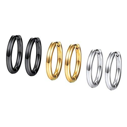 PROSTEEL 3 Paare Ohrringe Set 16mm Creolen Huggie Kreolen Ohrringe Edelstahl Hoop Klappcreolen Ohr Piercing Gold Schwarz Silber 3 Farbe Set