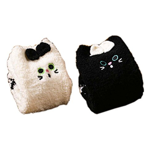 2 Paar Soft Fuzzy Sleeping Socken Slipper Socken Warm Floor Socks Weihnachtsgeschenke, Black & White Katzen (Fuzzy-socken Gestreifte Weiche)