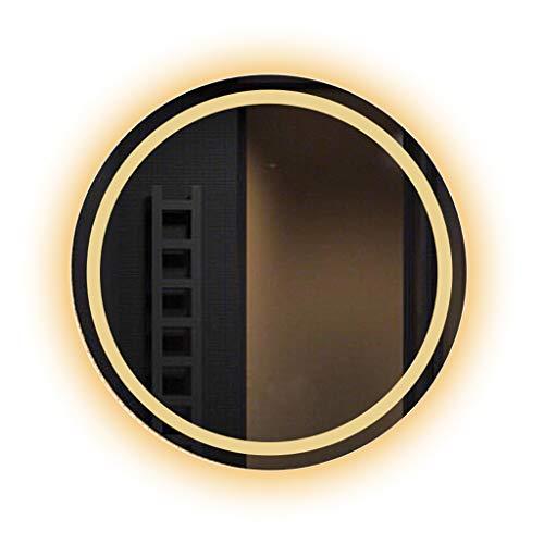 Miroirs Lumineux LED Rond Contre-Bassin Lavabo Rond De Salle De Bains Intelligent De Salle De Bains Lumière (Color : Gold, Size : 50 * 50 * 3cm)