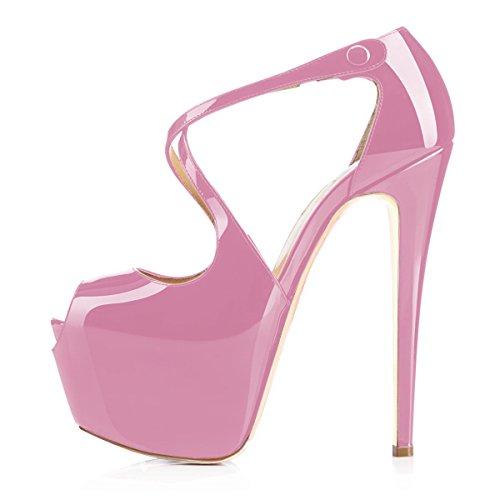 uBeauty Damen Pumps Stilettos High Heels Peep Toe Glitzer Übergröße Sandalen mit Plateau Corss Ankle Strap Schuhe Pink Lack