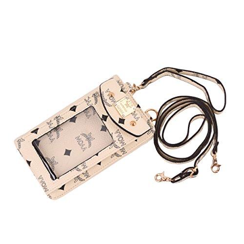 Lalang Multifunktionale Paket für 5 Zoll Handy-Beutel PU Leder Schultertasche / Handtaschen Wallet Messenger Bag Umhängetasche (Cremefarbig) (Handtasche Messenger Bag Purse)