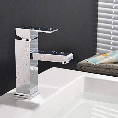 MVPower® Wasserhahn Waschtischarmatur Einhandmischer Waschbecken Bad Küche Armatur Messing verchromt massiv - 5