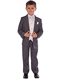 4acee984cd07 TopCat Boys 6pc Grey Suit, Ivory Waistcoat Suits, Boys Wedding Suit, Boys  Pageboy Suit, Boys Formal Suit, Boys…